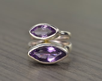 Amethyst Stack Ring, size 7.5, silver gold marquise 2ct 6ct stacking ring, February Birthstone - Navette Ring