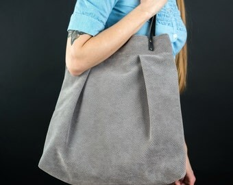 Big Tote bag, Large Handbag, Fall Fashion, Grey Soft Leather Handles