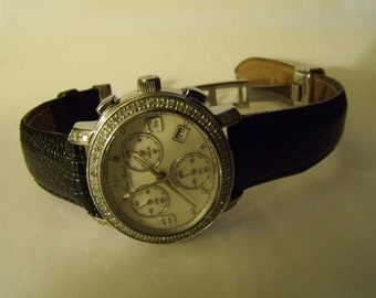 Watch 1CT Diamond Lucien Piccard Chronograph Stainless Steel Leather Men or Women