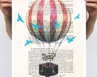 POSTER 11x16: Airballoon with blue birds,original illustration wall art wall decor wall hanging drawing digital illustration mixed media