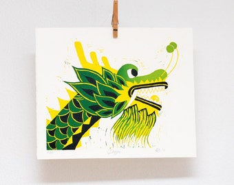 Dragon print, linocut reduction print, Chinese New Year, Year of the Dragon, Chinese zodiac, hand printed, wall art