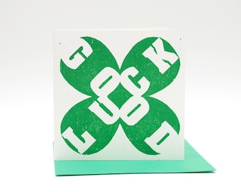 Letterpress card Good Luck, hand printed woodcut, St Patricks Day