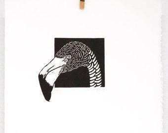 Linocut animals, flamingo, hand printed wall art, tropical bird