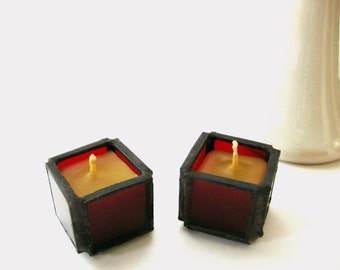 Red Stained Glass Candles Set Of Two Small Tea Lights