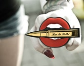 "Custom Color ""Bite the Bullet"" Lips and Bullet Ring (laser cut acrylic)"