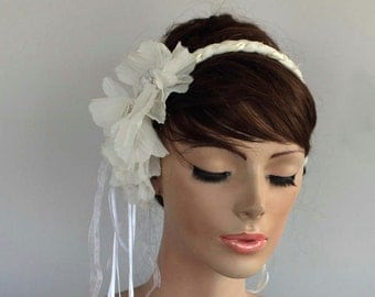Bridal Headband, Boho Wedding, Cottage Chic Fringed Floral Bridal Head Piece, Off White Cream, Wedding Fascinator. Handmade.