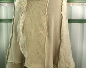 Icelander- upcycled recyceld sweaters winter skirt - offwhite ecru and beige colour combination