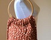 FREE SHIPPING 1980's Large Floral Brown Quilted Bermuda Bag, Boho Vintage Bag, Handmade Vintage Bag, Market Tote