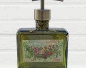 Green Soap Dispenser Glass Soap Dispenser French Floral Swag Soap Label Choose Your Pump