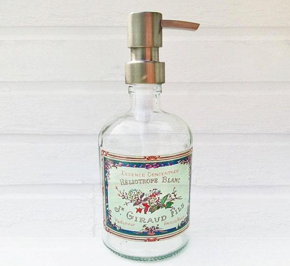 Large Aqua Soap Dispenser Turquoise Glass Soap By