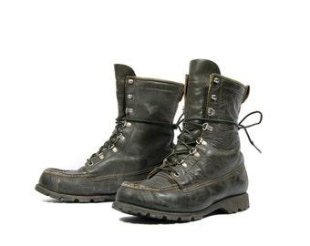 7 B | Women's SEARS Sport Boots Hunting Swamp Boots Hunter Green Moc Toe Work Boots