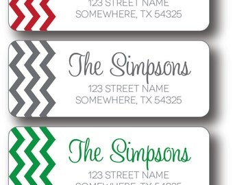Christmas Return Address Labels   Chevron