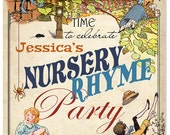 Nursery Rhyme Party Sign - INSTANT DOWNLOAD - DIY Editable & Printable Birthday Decorations by Sassaby