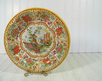 Retro Fluted Round Lithograph Asian Florals Scenic Metal Bowl - Vintage Daher Decorated Ware Tray - Shabby Chic BoHo Bistro Serving Display