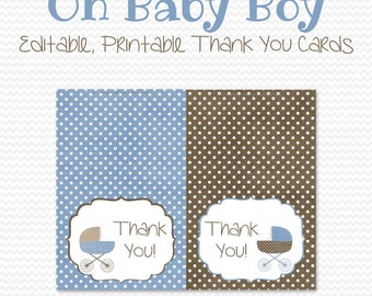 Baby Carriage Thank You Cards, Thank You Note, Blue and Brown Note Cards, Baby Boy Shower Notecards -- Editable, Printable, Instant Download