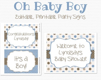 Blue and Brown Party Signs, Welcome Sign, Boy Baby Shower Decor, Birthday Party Decoration, Brown and Blue - Editable, Printable, Instant