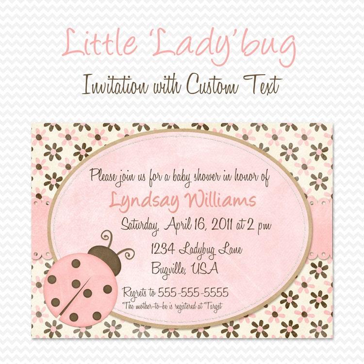pink ladybug baby shower invitation by printcreatecelebrate
