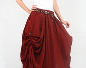 Maxi skirt,The stunning red apple long skirt with a unique pattern design