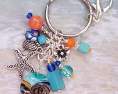 Starfish Keychain / Purse Charm / Key Chain / Bag Jewelry, Beachy Gift, Gifts for Her, Ocean Gifts, Bag Accessory, Beach Wedding Favor