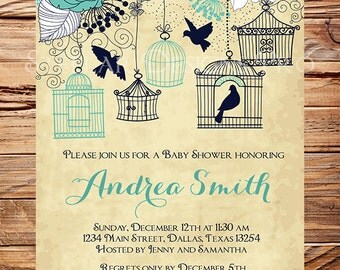 Baby Shower Invitation, Birdcages Baby Shower Invitation, Boy, Girl, Vintage Baby Shower Invite, Teal, Brown, Blue, 1065
