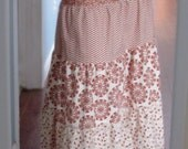 Maxi Peasant Skirt 4-tiered Long Burnt Orange Ivory Women's 6 - 8 Petite