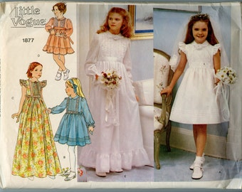 1980s Vintage Sewing Pattern Little Vogue 1877 Flower Girl or Party Dress and Veil Pattern Size 12 Breast 30
