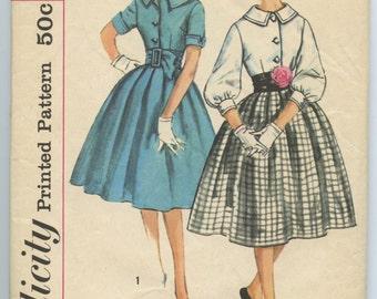 1950s Misses Dress Full Pleated Skirt Wide Belt Bishop Sleeves Simplicity 3071 Vintage Sewing Pattern Bust 36