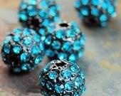 DeepSkyBlue Rhinestones, Grade A, 8mm Round Beads -5