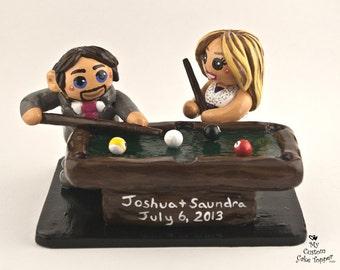 Bride and Groom Playing Pool Custom Wedding Cake Topper