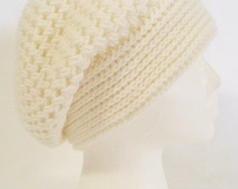 Hand crochet slouch beanie soft and thick made to fit teen and adults unisex off white