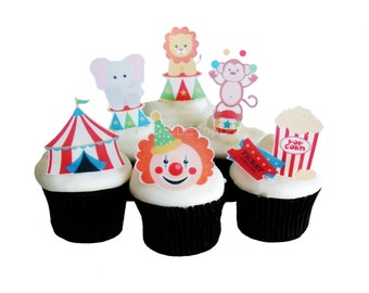 CIRCUS BIRTHDAY - 12 Edible Cupcake Toppers - Birthday Party Decorations - Cake Topper - DIY Party