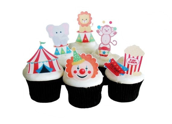 CIRCUS BIRTHDAY - 12 Edible Cupcake Toppers - Birthday ...
