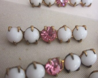 Vintage Rhinestone  Silver And Milk Glass Bars