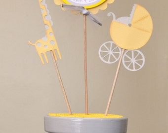 Yellow Gray Giraffe Baby Shower Personalized Table Top Centerpiece Decoration