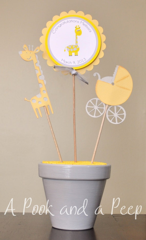 gray giraffe baby shower personalized table top centerpiece decoration