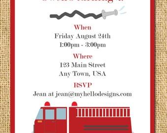 Printable Firetruck Party Invitation - Birthday Invite DIY - child children invite fireman fire flames hose rescue hero