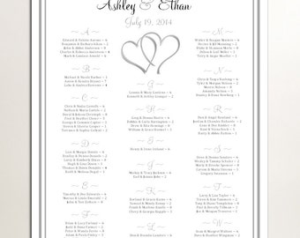Hearts Seating Chart for Wedding Table Assignments for your Wedding Reception - Printable PDF File