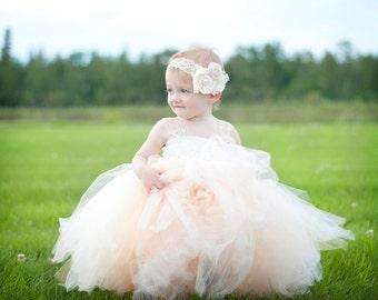 Flower Girl Tutu Dress, tutu gown and headband set. Flower girl tutu dress, lace tutu dress