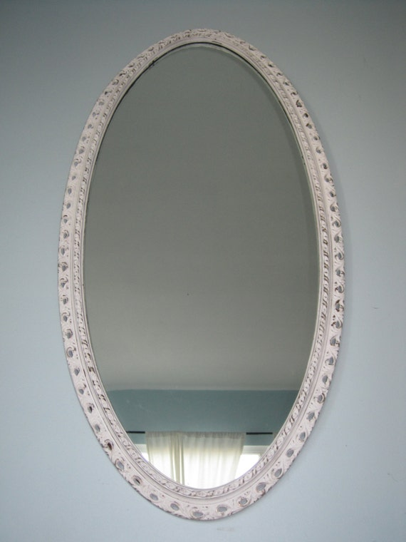 Large oval baroque wall mirror hollywood regency by for Plastic baroque mirror