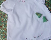 6-12  month White Dress with Hand Embroidery
