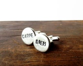 Carpe Diem Cufflinks - groom gift, graduation gift,  hand stamped jewelry - seize the day - mens gift inspirational, groom gift groomsmen