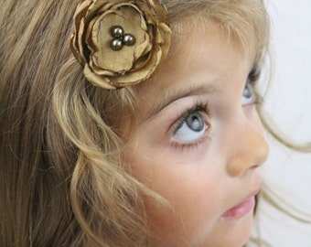 Dark Gold Flower Hair Clip - Antique Gold Camel Boho Chic Flower with Pearls - Custom Colors Available