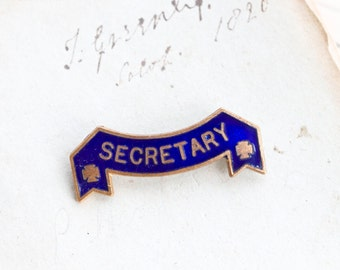 Secretary Lapel Pin  - Antique Blue Enamel and Brass Brooch - Badge for Important and Formal Occasions