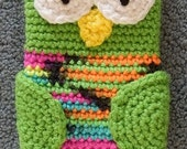 Made to order Hand Crocheted Owl iPhone Cell Nintendo 3DS Cover Bag Case Lime Green Mutli Color