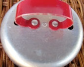 Biscuit cookie cutter metal red handle round Vintage 1950's retro kitchen country farmhouse cooking baking baker Red decor