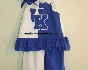 Blue/White Split Aline Top with UK Applique with GO CATS On Back with Matching Double Ruffle Pants