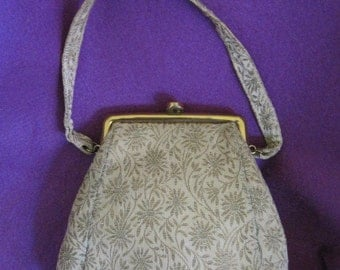 Antique Vintage 1930s 1940s Evening Bag Magid Beige Gold Thread Party Change Purse Floral Handbag Art Deco Clutch