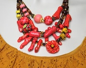 Poppy Red Statement Necklace / Chunky Red Coral Necklace / Anthropologie Inspired