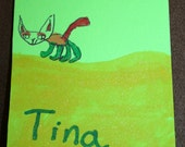 Tina the Cat with Eyeshadow On by Mir ACEO Original Signed Marker Pen Drawing Kid Artist Child Art Kitty Animal Feline Folk Art