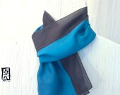 Mens Gift, Silk Scarf Men, Handpainted, Mens Gift, Japanese Mens Black and Blue Silk Scarf, Gray Black and Blue Stripes Scarf, 8x54 inches.